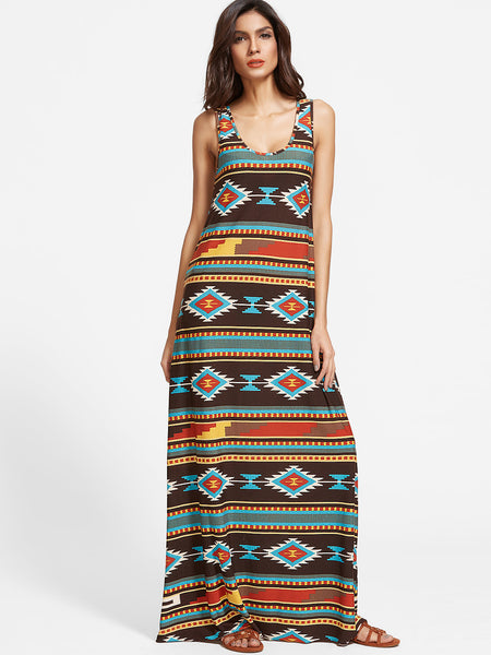 Multicolor Sleeveless Tribal Print Scoop Neck Long Dress