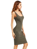 Army Green Sleeveless Double Scoop Tank Dress