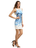 Blue Floral Print Sleeveless Round Neck Dress