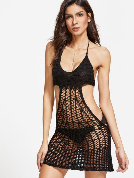 Black Crochet Cover Up Halter Dress