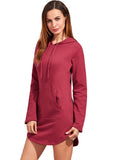 Burgundy Front Pocket Hooded Sweatshirt Dress