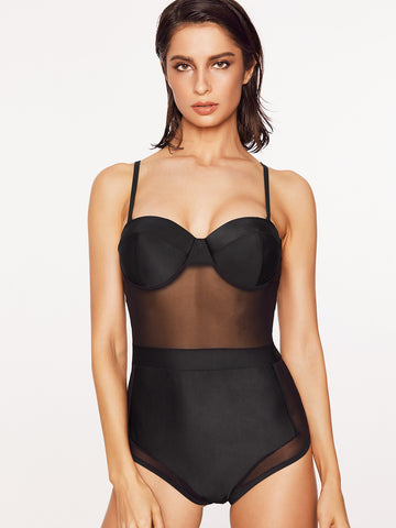 Black Bustier Sheer Mesh Design Swimwear