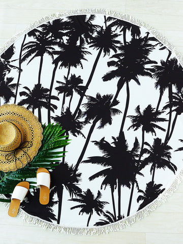 Black Coconut Tree Print Fringe Trim Beach Blanket