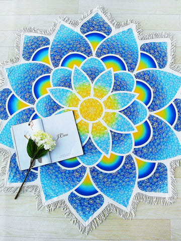 Blue Lotus Flower Fringe Trim Beach Blanket