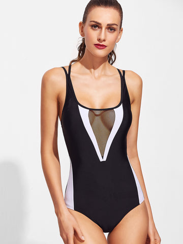 Black Contrast Trim Criss Cross Back One-Piece Swimwear