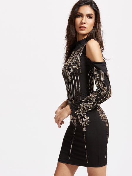 Black Studded Cold Shoulder Bodycon Dress