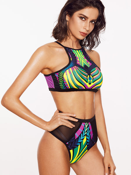 Multicolor Mesh Detail High Waist Racer Back Bikini Set