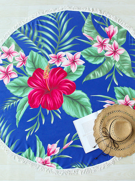 Blue Flower Print Round Beach Blanket