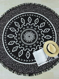 Black Dot and Vintage Design Fringe Detail Beach Blanket