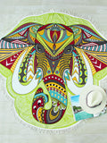 Multicolor Elephant Print Asymmetrical Beach Blanket