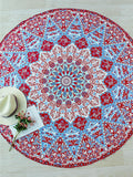 Red and Blue Geometric Print Boho Beach Blanket