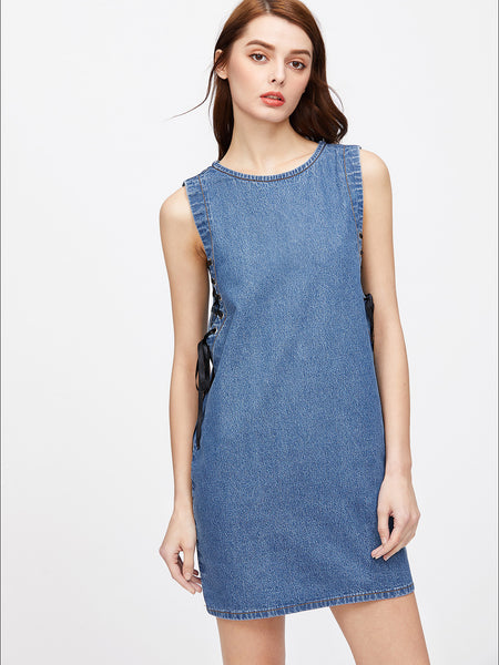 Blue Round Neck Sleeveless Lace Up Zip Back Denim Dress