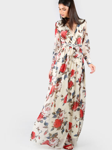 Apricot Rose Print Cuffed Long Sleeve Belted Wrap Dress