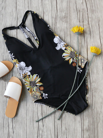 Black Cutout Back Floral Print One Piece Swimwear