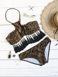 Black Tassel Trim Printed Halter Bikini Set