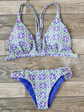 Multicolor Printed Ladder Cutout Bikini Set