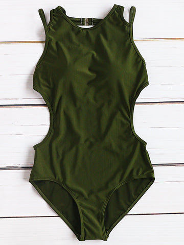 Army Green Side Cutout One-Piece Swimwear