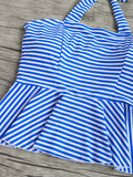 Blue Striped Ruffle Hem High Waist Tankini Set
