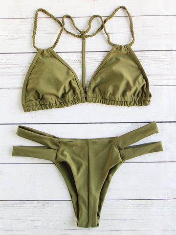 Army Green Braided Strap Ladder Cutout Bikini Set