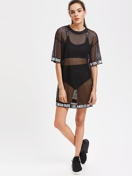 Black Logo Trim Cover Up Fishnet Tee Dress
