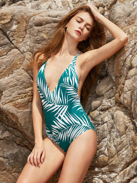 Green Leaf Print Plunge Neckline Open Back One-Piece Swimwear