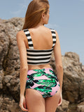 Multicolor Stripe and Leaf Print High Waist Swimwear
