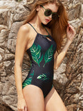 Black Leaf Print Lace Up Back One-Piece Swimwear