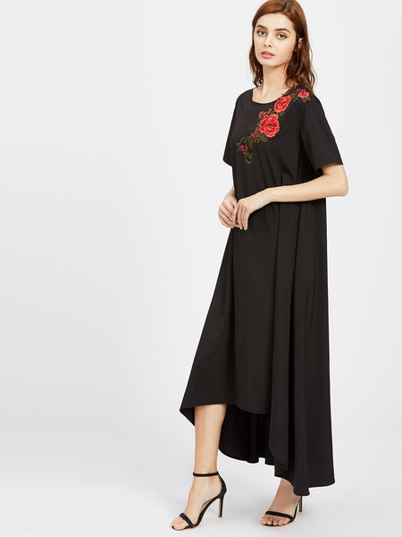 Black Flower Embroidered Applique Irregular Hem Tent Dress