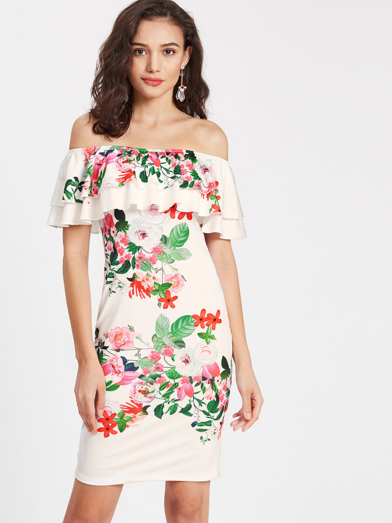 bd29a7f58054 White Off Shoulder Layered Ruffle Floral Print Bodycon Dress – Crystalline