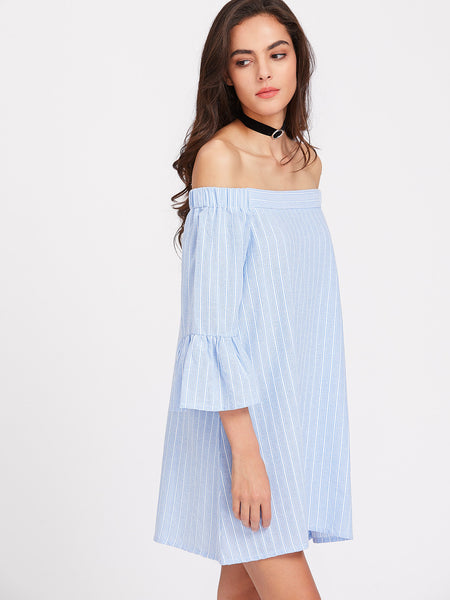 Blue Stripe Off Shoulder Fluted Sleeve Dress