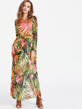 Multicolor Tropical Print Self Tie Chiffon Dress
