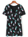 Black V-Neck Short Sleeve Cactus Print Tee Dress