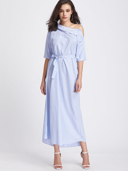Blue Boat Neck Pinstripe Asymmetrical Self Tie Maxi Dress