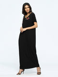 Black V-Neck Rose Appliques Pockets Maxi Dress