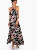 Multicolor Halter Two Layer Racerback Floral Print Dress