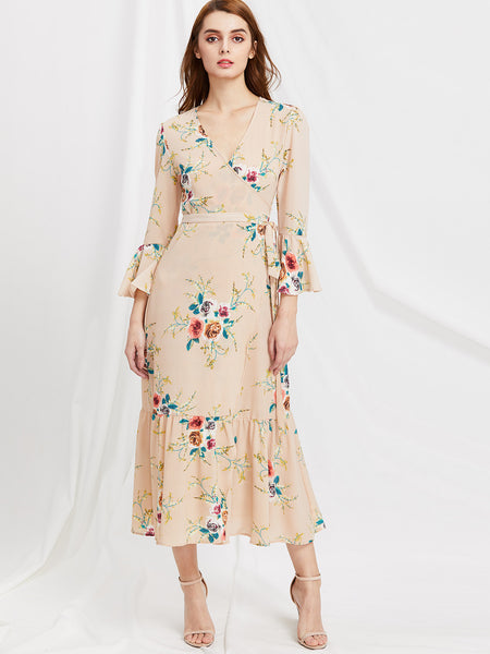 Apricot Wrap Belted Plunge Neckline Floral Print Slit Dress