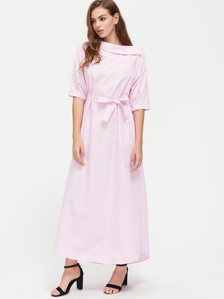 Pink Boat Neck Pinstripe Asymmetrical Self Tie Maxi Dress
