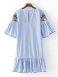 Blue Stripe Bell Sleeve Ruffle Hem Dress