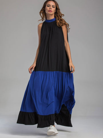 Black Contrast Sleeveless Pleated Frill Hem Tent Dress