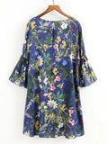 Blue 3/4 Sleeve Flower Print Button Hole Dress