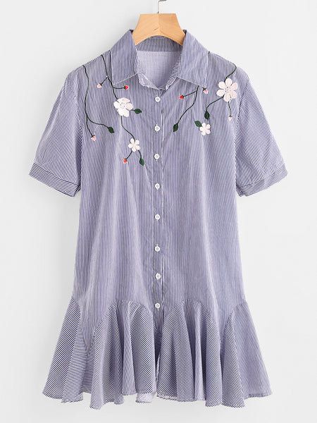 Blue Pinstripe Embroidered  Frill Hem Shirt Dress
