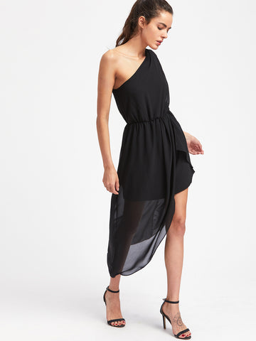 Black Oblique Shoulder Asymmetrical Split Side Dress