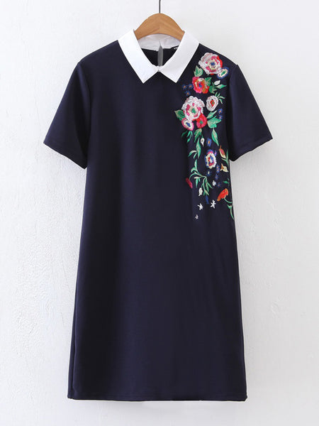 Navy Contrast Collar Flower Embroidered Short Sleeve Dress