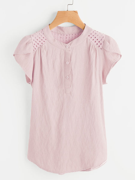 Pink Band Collar Eyelet Embroidered Petal Sleeve Blouse
