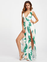 Surplice Neckline Open Back M-Slit Palm Leaf Print