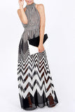 Black Stripe Halter Neck Printed Maxi Dress