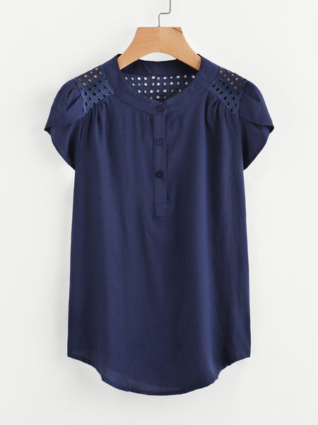 Navy Band Collar Eyelet Embroidered Petal Sleeve Blouse