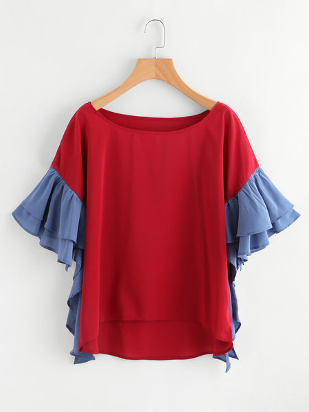 Burgundy Contrast Tiered Flute Sleeve High Low Blouse