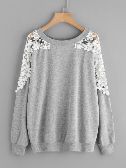 Lace Panel Beaded Sweatshirt