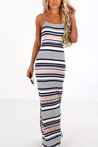 Multicolor Stripes Spaghetti Strap Side Split Bodycon Maxi Dress